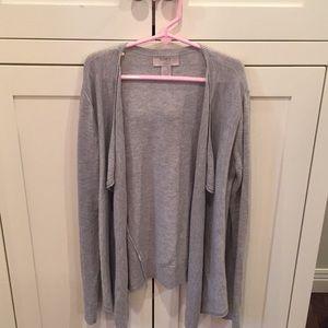 Grey sweater material cardigan